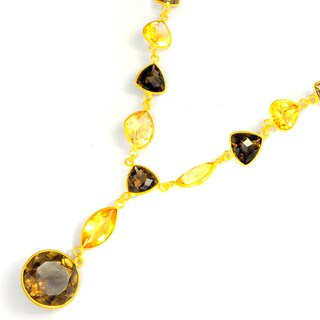 Orchid Jewelry 127 Carat Smoky Quartz and Citrine Gold Vermeil Necklace