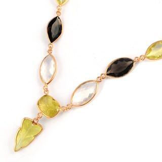 Orchid Jewelry 122 Carat Lemon Quartz, Rose Quartz and Smoky Quartz Rose Gold Silver Necklace
