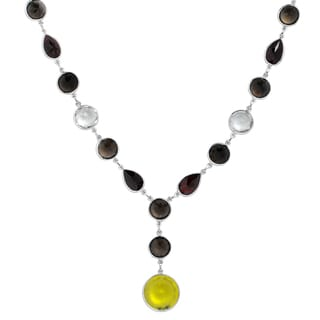 Orchid Jewelry 96 Carat Lemon Quartz, Smoky Quartz, Green Amethyst and Garnet Sterling Silver Gemstone Necklace