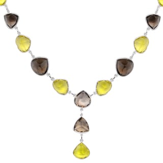 Orchid Jewelry 136 Carat Lemon Quartz and Smoky Quartz Sterling Silver Gemstone Necklace