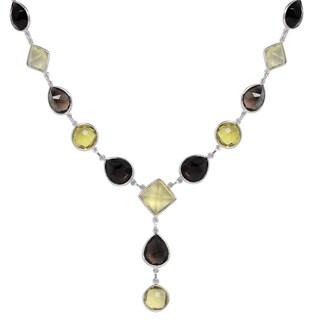 Orchid Jewelry 103 Carat Lemon Quartz and Smoky Quartz Sterling Silver Gemstone Necklace