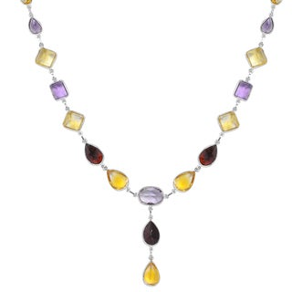 Orchid Jewelry 65 4/5 Carat Citrine, Amethyst and Garnet Sterling Silver Gemstone Necklace