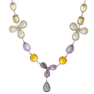 Orchid Jewelry 136 Carat Amethyst and Citrine Sterling Silver Gemstone Necklace