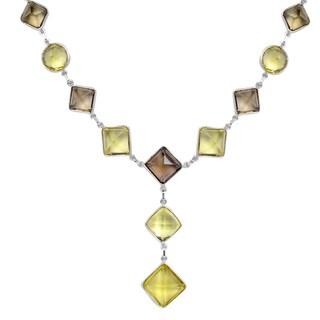 Orchid Jewelry 101 2/7 Carat Lemon Quartz and Smoky Quartz Sterling Silver Handmade Necklace Jewelry