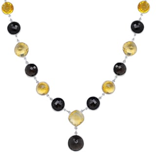 Orchid Jewelry 118 1/4 Carat Smoky Quartz and Citrine Sterling Silver Handmade Necklace Jewelry