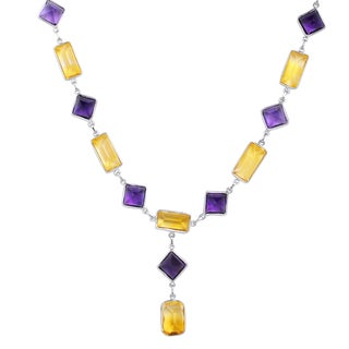 Orchid Jewelry 82 2/3 Carat Citrine and Smoky Quartz Sterling Silver Handmade Necklace Jewelry