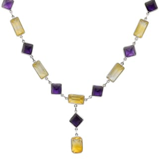 Orchid Jewelry 78 4/5 Carat Citrine and Amethyst Sterling Silver Handmade Necklace Jewelry