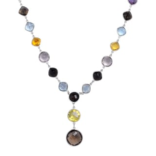 Orchid Jewelry 113 Carat Multi Gemstones Sterling Silver Handmade Necklace Jewelry