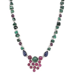 Orchid Jewelry 61 5/7 Carat Emerald, Ruby and Sapphire Sterling Silver Handmade Necklace Jewelry