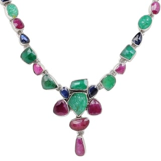 Orchid Jewelry 57 3/5 Carat Emerald, Ruby and Sapphire Sterling Silver Handmade Necklace Jewelry