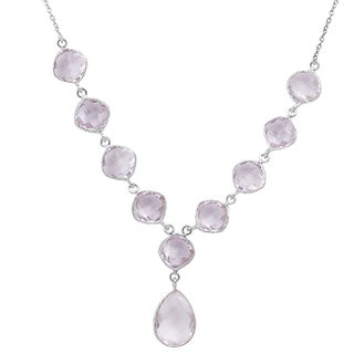 Orchid Jewelry 13 4/5 Carat Pink Amethyst Sterling Silver Handmade Necklace Jewelry