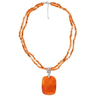 Sterling Silver Orange Carnelian Pendant with 18 inch Beaded Necklace