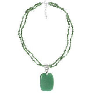 Sterling Silver Green Aventurine Pendant with 18 inch Beaded Necklace