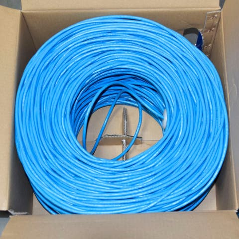 Premiertek Cat6 Bulk Bare Copper Network Cable 1000ft (Blue)