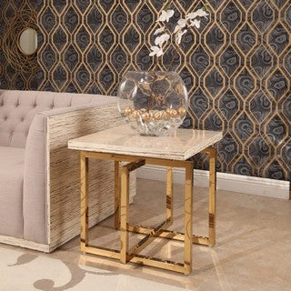 Abbyson Archer Brass Finish Stainless Steel End Table