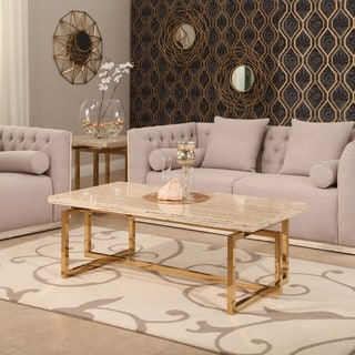 Abbyson Archer Brass Finish Stainless Steel Coffee Table