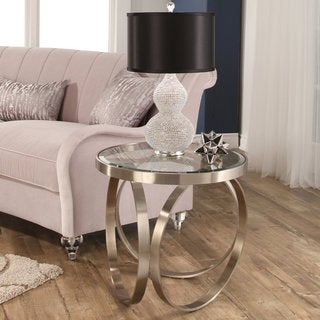 Abbyson Pearl Silver Stainless Steel End Table