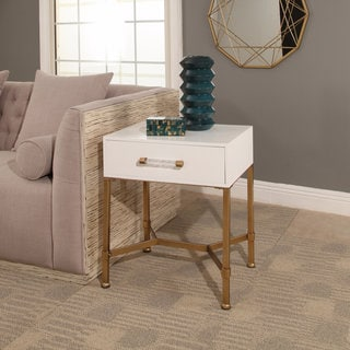 Abbyson Sophie White/Gold Iron End Table