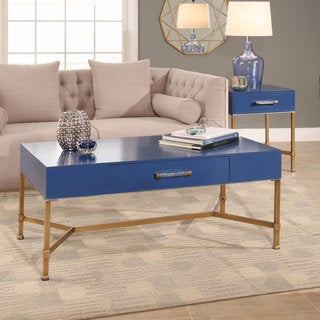Abbyson Sophie Blue Coffee Table on Iron Base