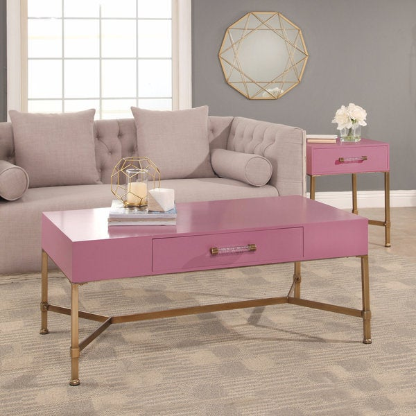 Shop Abbyson Sophie Pink Coffee Table On Iron Base Free