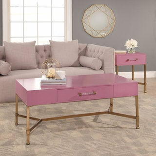 Abbyson Sophie Pink Coffee Table on Iron Base - Free Shipping Today -  Overstock.com - 21561259