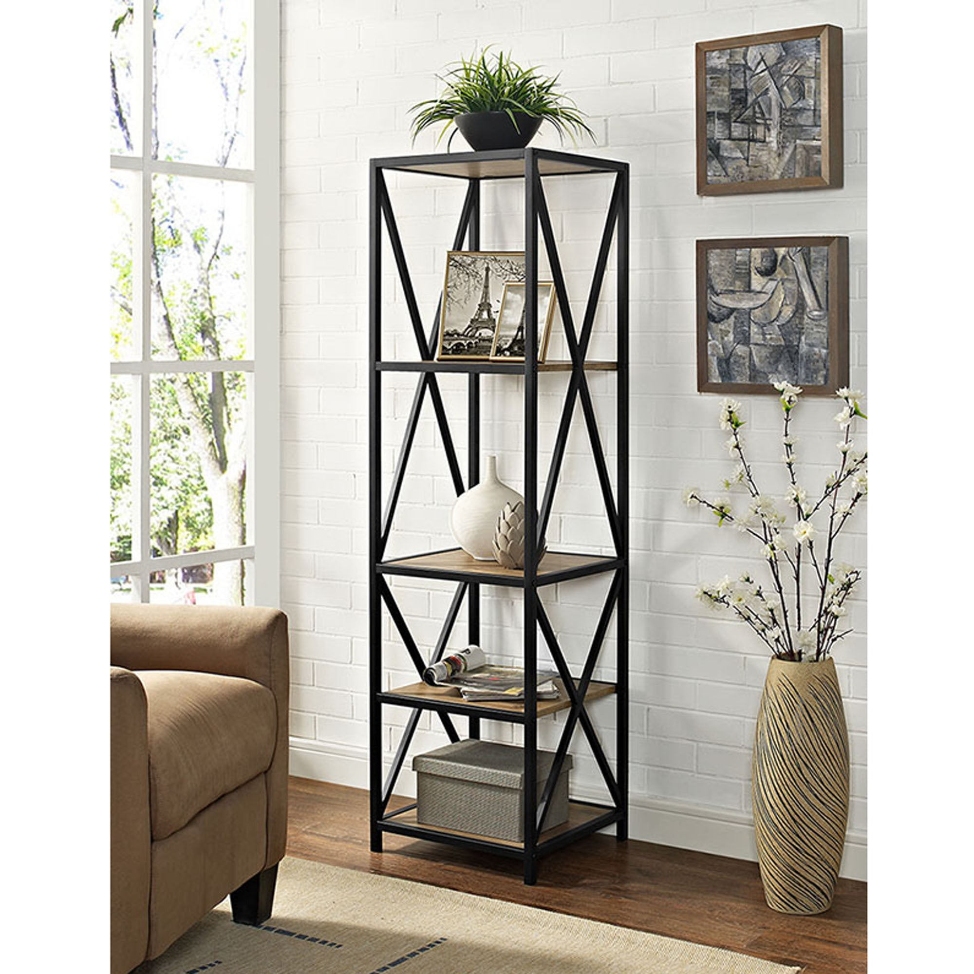 Shop 61 Inch X Frame Metal And Wood Media Bookshelf