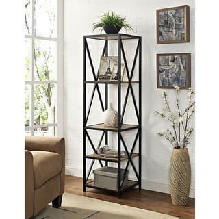 61-inch Tall X-Frame Metal and Wood Media Bookshelf https://ak1.ostkcdn.com/images/products/15069991/P21561255.jpg?impolicy=medium
