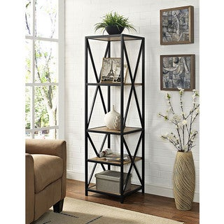 The Gray Barn Pitchfork Metal and Wood X-frame Media Bookshelf