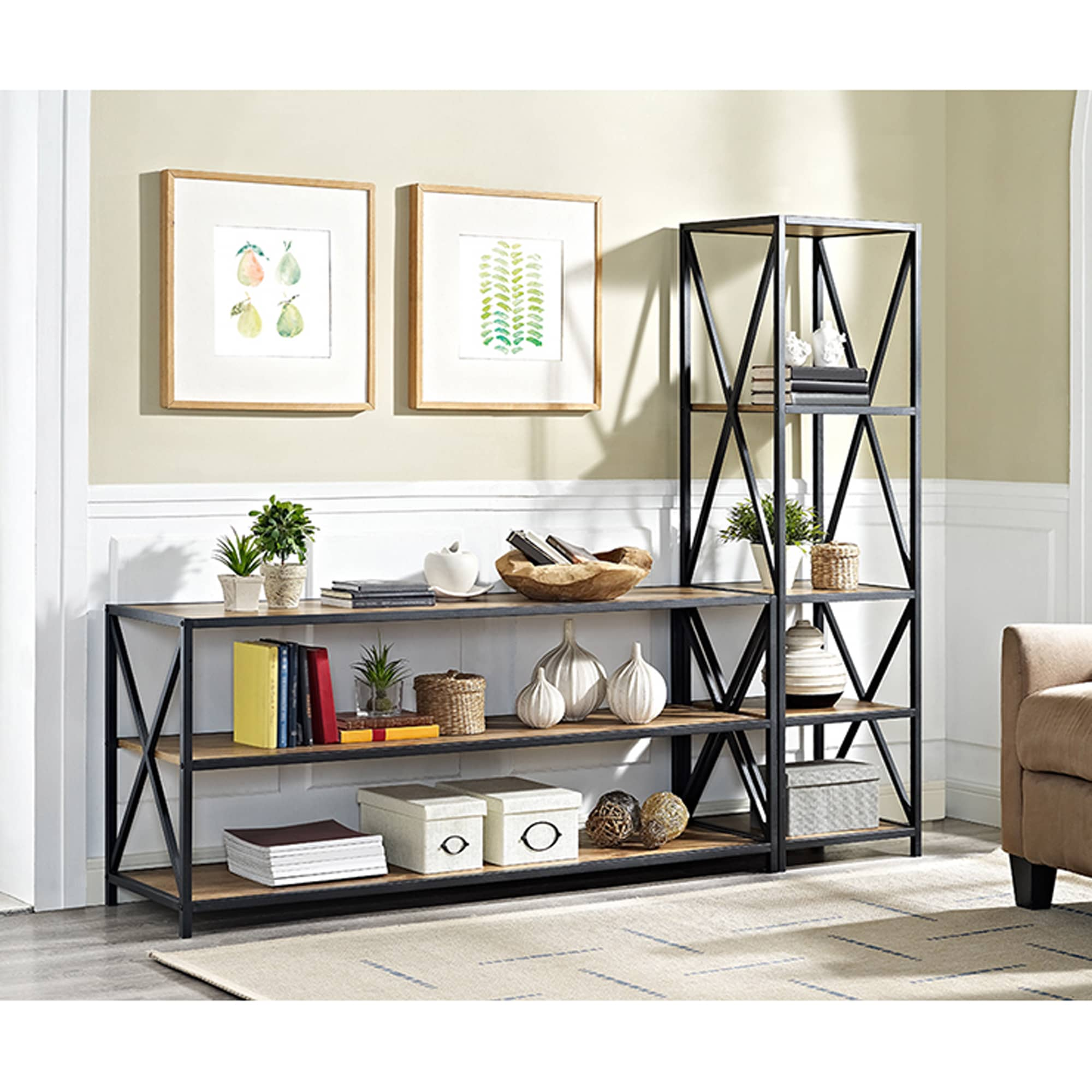 60 Inch Wide X Frame Metal And Wood Media Bookshelf