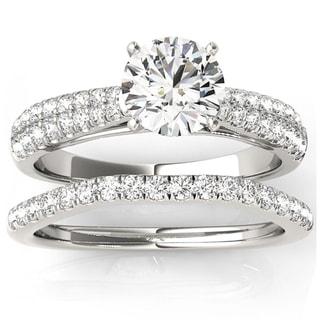 Transcendent Brilliance Graduate MultiRow Diamond Bridal Wedding Set 18k Gold 1 1/4 TDW