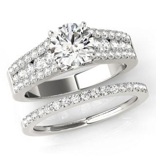 Transcendent Brilliance Floating French Pave Diamond Bridal Wedding Set 18k Gold 1 5/8 TDW