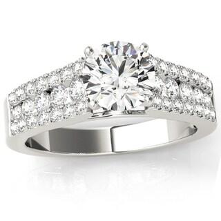 Transcendent Brilliance Floating French Pave Diamond Engagement Ring 18k Gold 1 1/2 TDW