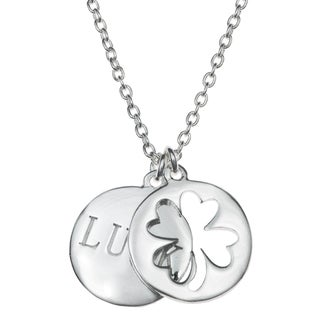 "Queenberry Sterling Silver Four Leaf Lucky Clover Round Dangle Pendant Rolo Chain Necklace 16""+1"" Ex"