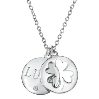 Queenberry Sterling Silver Four Leaf Lucky Clover Round Clear CZ Crystal Dangle Pendant Rolo Chain N