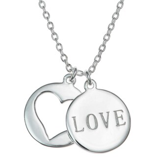 "Queenberry Sterling Silver Love Heart Round Dangle Pendant Rolo Chain Necklace 16""+1"" Extender"