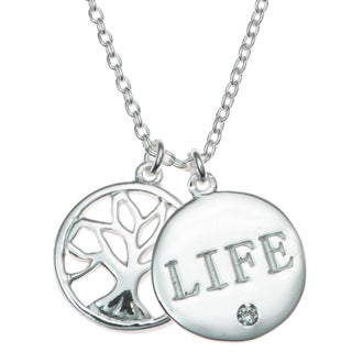 """Queenberry Sterling Silver Family Tree Life Clear CZ Crystal Pendant Rolo Chain Necklace 16""""+1"""" Exte"""