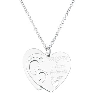 Queenberry Sterling Silver Love Mom U Leave Footprint on Our Heart Dangle Pendant Rolo Chain Necklac