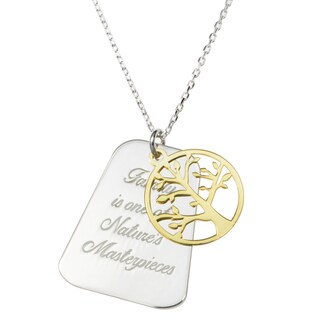 Queenberry Sterling Silver Family Is One of Nature's Masterpieces Gold-tone Tree of Life Pendant Rol