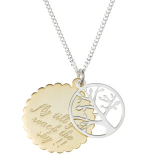 "Queenberry Sterling Silver Family Tree Fly Till You Reach the Sky Pendant Chain Necklace 16"" + 2"" Ex"