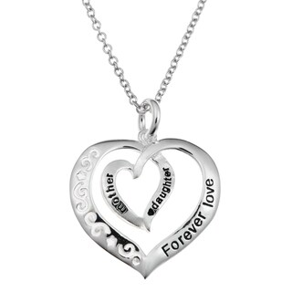 Queenberry Sterling Silver Mother Daughter Forever Love Heart Dangle Charm Pendant Chain Necklace 16