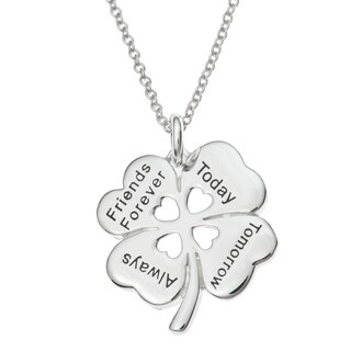 Queenberry Sterling Silver 4 Leaf Clover Friends Forever Today Tomorrow Always Heart Pendant Chain N