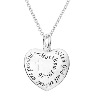 "Queenberry Sterling Silver with God All Things Are Possible Heart Charm Pendant Chain Necklace 16""+2"