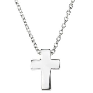 "Queenberry Sterling Silver Christian Cross Faith Dangle Charm Pendant Rolo Chain Necklace 16""+1"" Ext"