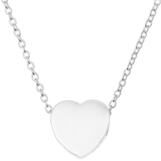 "Queenberry Sterling Silver Love Heart Dangle Charm Pendant Rolo Chain Necklace 16""+1"" Extender"