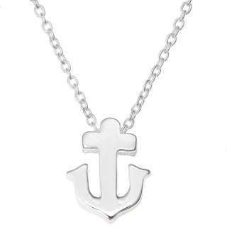 "Queenberry Sterling Silver Ship Anchor Friendship Dangle Charm Pendant Rolo Chain Necklace 16""+1"" Ex"