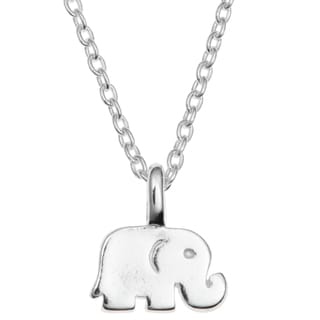 """Queenberry Sterling Silver Elephant Luck Dangle Charm Pendant Rolo Chain Necklace 16""""+1"""" Extender"""