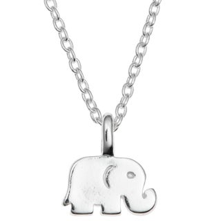 "Queenberry Sterling Silver Elephant Luck Dangle Charm Pendant Rolo Chain Necklace 16""+1"" Extender"
