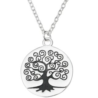 "Queenberry Sterling Silver Round Family Tree Dangle Charm Pendant Rolo Chain Necklace 16""+1"" Extende"