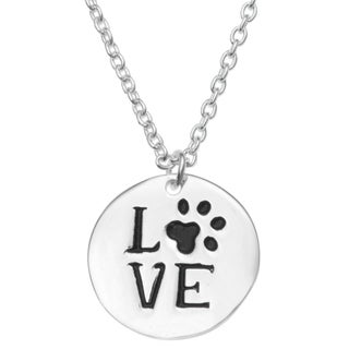 """Queenberry Sterling Silver Round Love Puppy Footprint Dangle Charm Pendant Rolo Chain Necklace 16""""+1"""