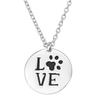 "Queenberry Sterling Silver Round Love Puppy Footprint Dangle Charm Pendant Rolo Chain Necklace 16""+1"